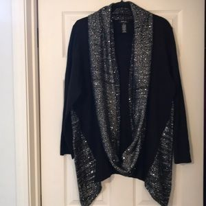 Style & Co Long Black silver sweater w/scarf!